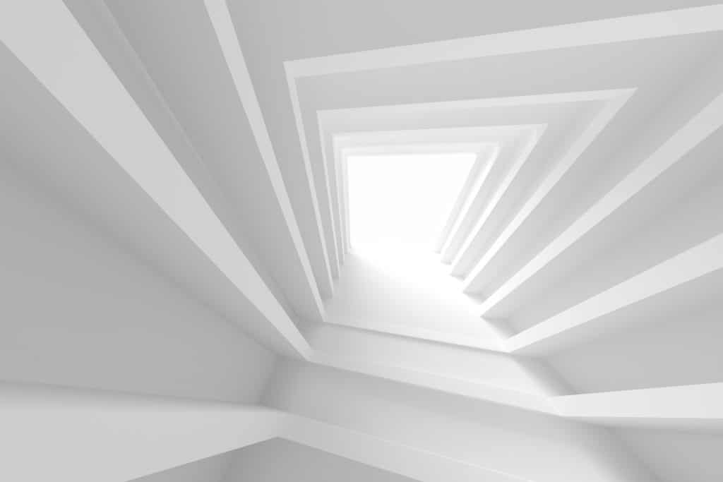 White Building Construction. Abstract Architecture Background. 3d Rendering